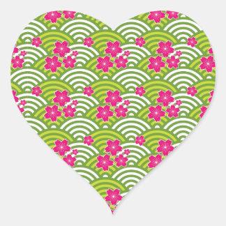 Cherry Blossoms Pattern Heart Sticker