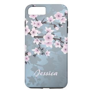 Cherry Blossoms Pink Blue Floral Monogram iPhone 8 Plus/7 Plus Case