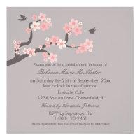 Cherry Blossoms Pink/Grey Bridal Shower Invite
