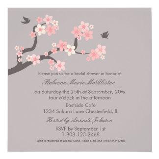 """Cherry Blossoms Pink/Grey Bridal Shower Invite 5.25"""" Square Invitation Card"""