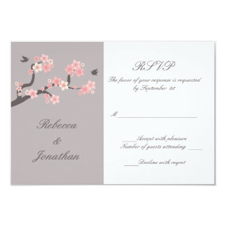 Cherry Blossoms pink/grey RSVP Card