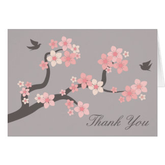 Cherry Blossoms pink/grey Thank You Card