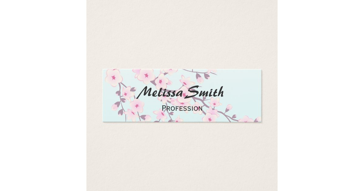 Cherry Blossoms Pink Turquoise Floral Mini Business Card | Zazzle.com