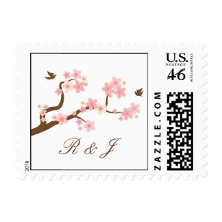 Cherry Blossoms Pink White with initials stamp