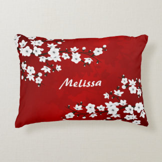 Cherry Blossoms  Red Black White Monogram Decorative Pillow