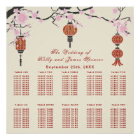 Cherry  Blossoms & Red Lanterns | Seating Chart