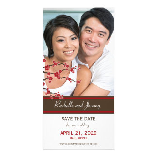 Cherry Blossoms Red Sakura Asian Save The Date Personalized Photo Card