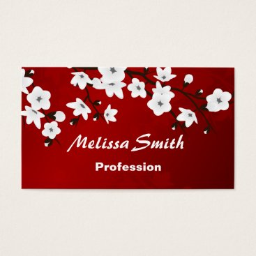 Professional Business Cherry Blossoms Red White Black Business Card