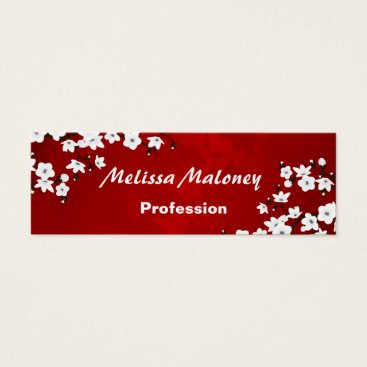 Professional Business Cherry Blossoms Red White Black Mini Business Card