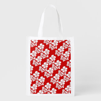 Cherry blossoms red white grocery bags