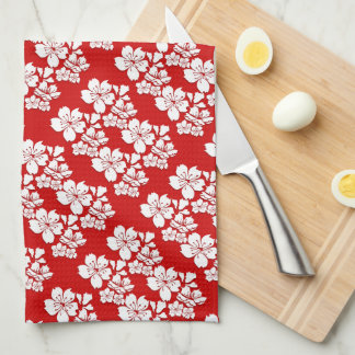 Cherry blossoms red white hand towel