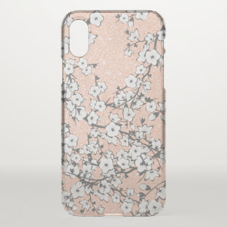 Cherry Blossoms Rose Gold Clear Bling iPhone X Case