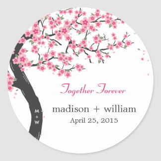 Cherry Blossoms Round Favor Sticker