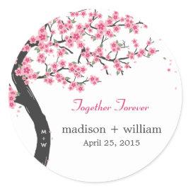 Cherry Blossoms Round Favor Sticker Sticker