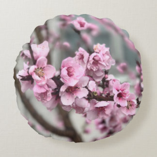 Cherry Blossoms Round Pillow w/ Pink Back