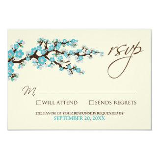 Cherry Blossoms RSVP Card (aqua) Custom Invitation