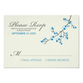 Cherry Blossoms RSVP Card (blue/grey) Personalized Invites