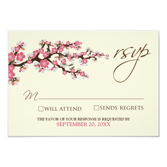 Cherry Blossoms RSVP Card (pink)