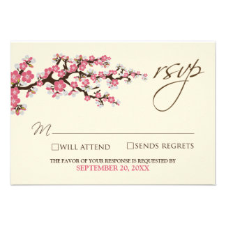 Cherry Blossoms RSVP Card pink Personalized Invite