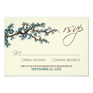Cherry Blossoms RSVP Card (teal) Announcements