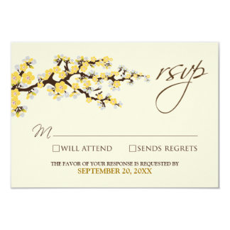Cherry Blossoms RSVP Card (yellow) Custom Announcements