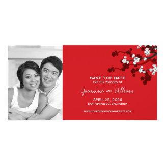 Cherry Blossoms Sakura Chinese Red Save The Date Custom Photo Card