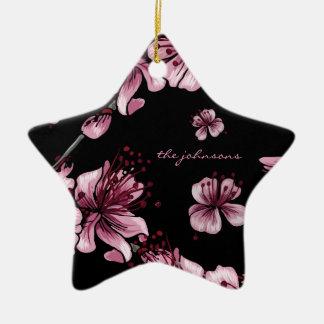 Cherry Blossoms Sakura Double-Sided Star Ceramic Christmas Ornament
