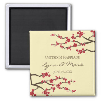 Cherry Blossoms Sakura Floral Wedding Announcement 2 Inch Square Magnet
