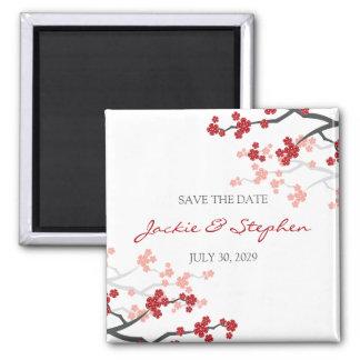 Cherry Blossoms Sakura Flowers Tree Save The Date Fridge Magnet