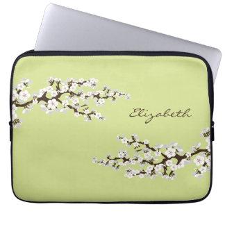 Cherry Blossoms Sakura Laptop Sleeve (lime)