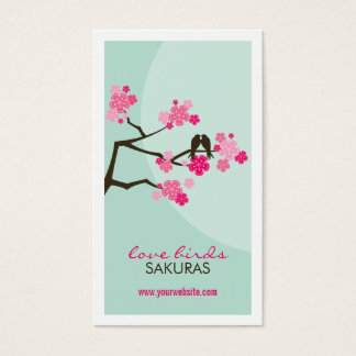 Cherry Blossoms Sakura Love Birds Profile Card