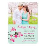 "Cherry Blossoms Sakura Love Birds Save The Date 5"" X 7"" Invitation Card"