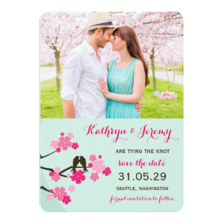 Cherry Blossoms Sakura Love Birds Save The Date Personalized Invitation