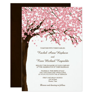 Cherry Blossoms Sakura Watercolor Wedding Card