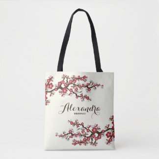 Cherry Blossoms Sakura Wedding Party Tote (red)