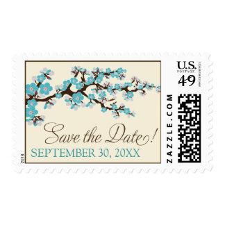 Cherry Blossoms Save-the-Date Stamp (aqua)