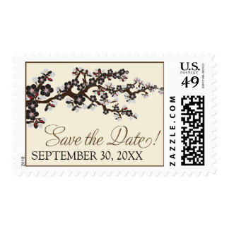 Cherry Blossoms Save-the-Date Stamp black