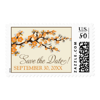 Cherry Blossoms Save-the-Date Stamp (orange)