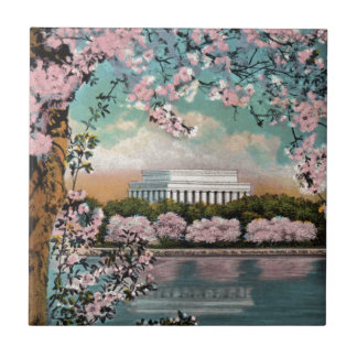 Cherry Blossoms Small Square Tile