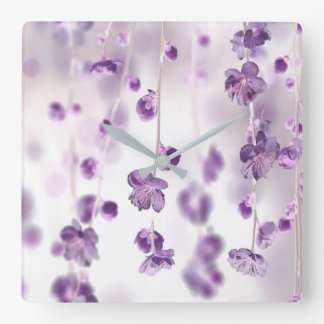 Cherry blossoms square wall clock