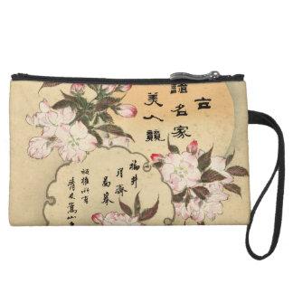 Cherry blossoms suede wristlet