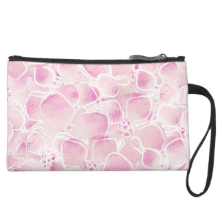 Cherry Blossoms Suede Wristlet Wallet
