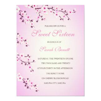 Cherry Blossoms Sweet Sixteen Invitation Card