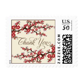 Cherry Blossoms Thank You Stamp (crimson)