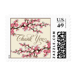 Cherry Blossoms Thank You Stamp rose pink
