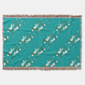 cherry blossoms throw blanket