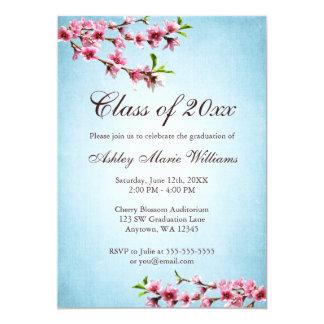 Cherry Blossoms Vintage Blue Graduation Card