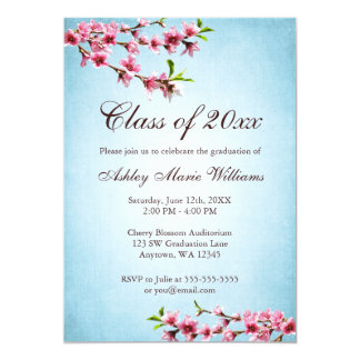 Cherry Blossoms Vintage Blue Graduation Personalized Invite