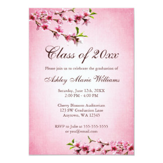 Cherry Blossoms Vintage Pink Graduation Personalized Invitation