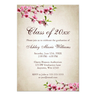 Cherry Blossoms Vintage Tan Graduation 5x7 Paper Invitation Card